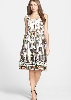 kate spade new york 'landscape' print stretch cotton fit & flare dress
