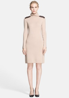 kate spade new york leather detail turtleneck sweater dress