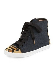 kate spade new york linus denim & calf hair high-top sneaker