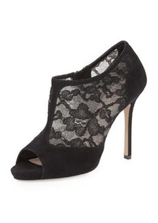 kate spade new york lorentina lace/suede peep-toe bootie