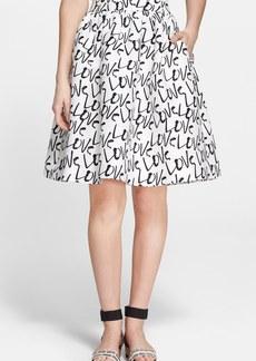 kate spade new york 'love' print flare skirt