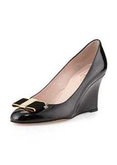 kate spade new york malta patent bow wedge pump, black