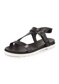 kate spade new york mckee patent sport sandal, black