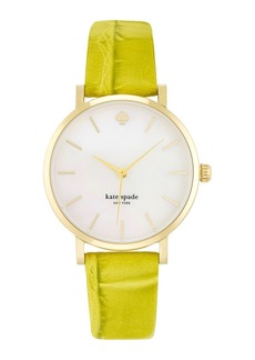 kate spade new york 'metro' embossed leather strap watch, 34mm