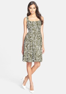 kate spade new york 'orchid' ruched cotton fit & flare dress