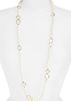 kate spade new york 'pearlescent baubles' faux pearl rope necklace