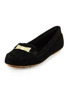 kate spade new york peso shearling-lined suede loafer, black