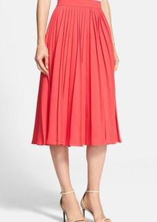kate spade new york pleated crepe midi skirt
