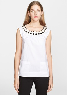 kate spade new york 'rio' embellished stretch cotton top