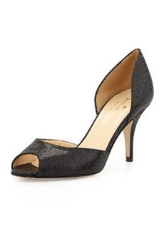 kate spade new york sage peep-toe glitter d'Orsay pump, black