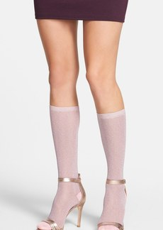 kate spade new york shiny metallic knee high socks