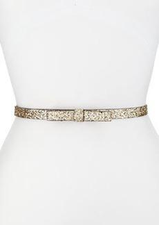 kate spade new york skinny leather bow belt, light gold