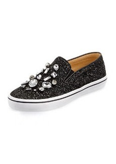 kate spade new york slater glitter & crystal slip-on sneaker, black