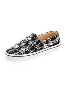 kate spade new york slater tweed & crystal slip-on sneaker, black/white
