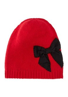 kate spade new york slouchy stitched bow beanie, red