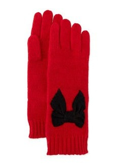 kate spade new york stitched bow gloves, red