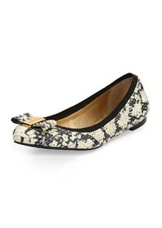 kate spade new york tock snake-print ballerina flat, black/cream