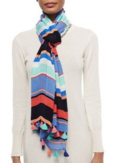 kate spade new york tropical-stripe tassel-trim scarf