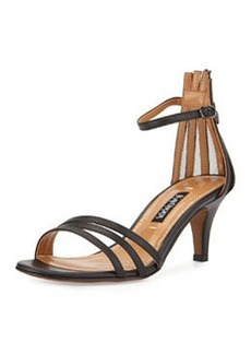 Kay Unger Adella Leather Multi-Strap Sandal, Black