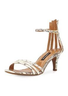 Kay Unger Adella Snakeskin Multi-Strap Sandal, Black/White