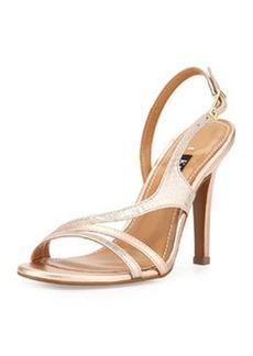 Kay Unger Aideen Strappy Metallic Sandal, Iridescent/Blush