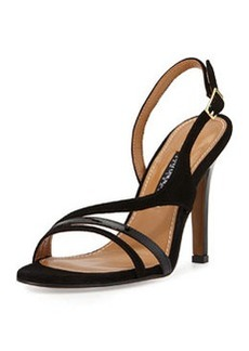Kay Unger Aideen Suede & Patent Sandal, Black