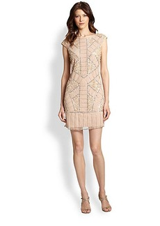 Kay Unger Beaded Cap-Sleeve Cocktail Dress
