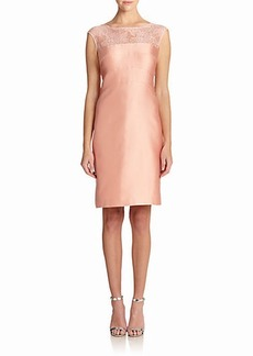 Kay Unger Beaded Illusion-Neckline Sheath Dress