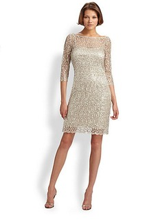 Kay Unger Beaded Lace Dress