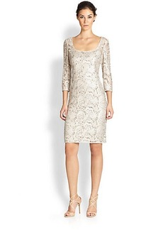 Kay Unger Beaded Lace Sheath Dress