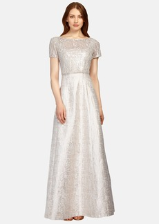 Kay Unger Beaded Popover Jacquard Gown