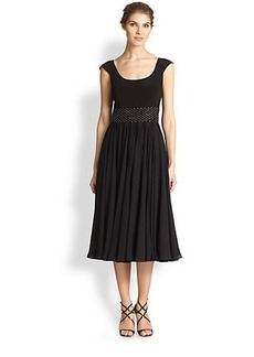 Kay Unger Beaded Tea-Length Dress
