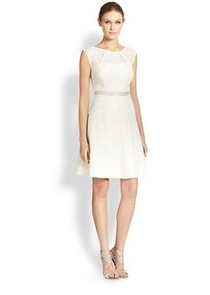 Kay Unger Beaded-Waist Lace Dress