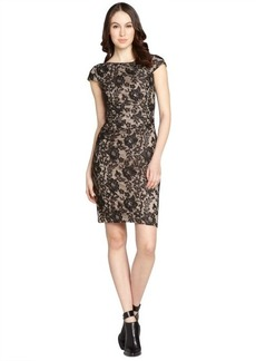 Kay Unger black and nude lace cap sleeve dress
