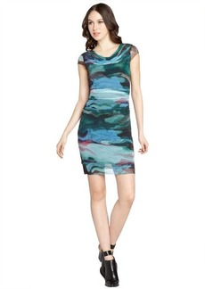 Kay Unger blue and black printed stretch mesh ruched dress