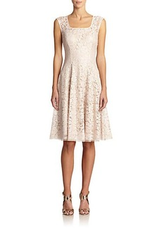 Kay Unger Bonded Lace Cap-Sleeve Dress