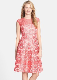 Kay Unger Bonded Lace Fit & Flare Dress