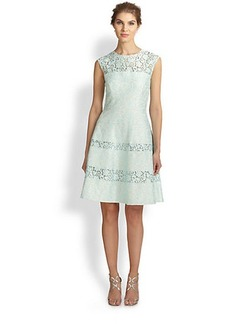 Kay Unger Bonded Lace Flared Dress