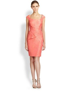 Kay Unger Brocade Peplum-Drape Dress