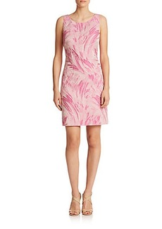 Kay Unger Brushstroke-Print Jacquard Dress
