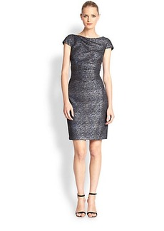 Kay Unger Cap-Sleeve Metallic Dress