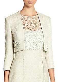 Kay Unger Cropped Lace-Pocket Boucle Jacket
