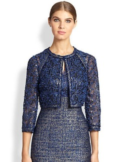 Kay Unger Cropped Lace Tweed Jacket