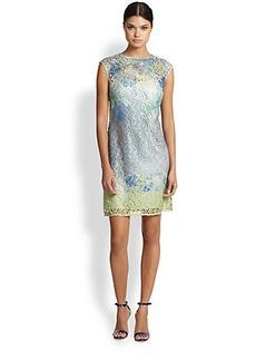 Kay Unger Digital-Print Lace Shift Dress