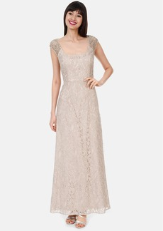Kay Unger Embellished Cap Sleeve Lace Gown