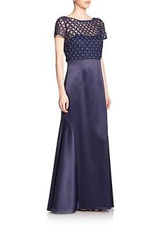 Kay Unger Embellished Lattice-Work Popover Gown