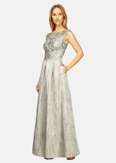 Kay Unger Embroidered Bodice Metallic Gown