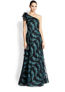 Kay Unger Embroidered Feather One-Shoulder Gown