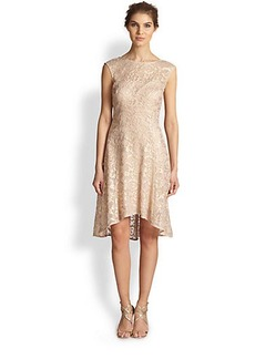 Kay Unger Embroidered Hi-Lo Dress