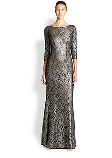 Kay Unger Embroidered Stretch Lace Gown